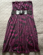 AMISU New Yorker sukienka śliwkowa z paskiem rozm XS 34 stan BD...