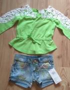 Bluzka zielona z koronką i krótkie spodenki jeansowe szorty 104...