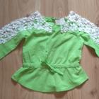 Bluzka zielona z koronką i krótkie spodenki jeansowe szorty 104 110
