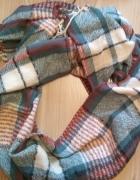 Nowy szal szalik w kratkę niebiesko kremowo rudy duzy...