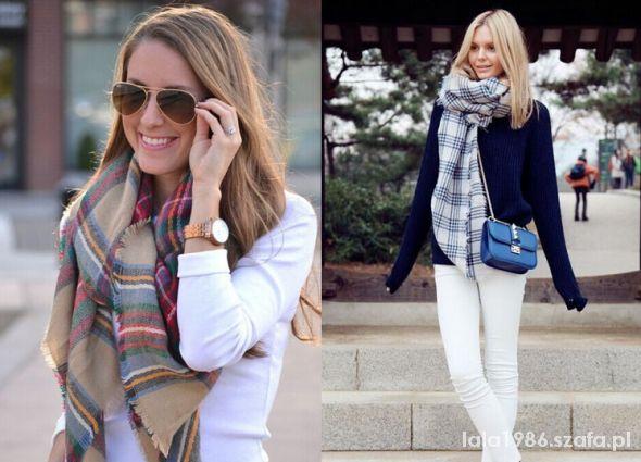 Szaliki i szale Zara accessories szal chusta ciepły 140x140 kolory