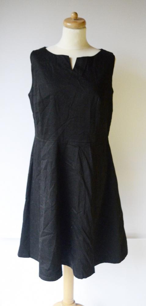Suknie i sukienki Sukienka Czarna Rozkloszowana Ellos 44 XXL Sara Kelly Wizytowa