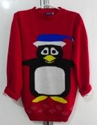 Świąteczny damski sweterek pingwinek...