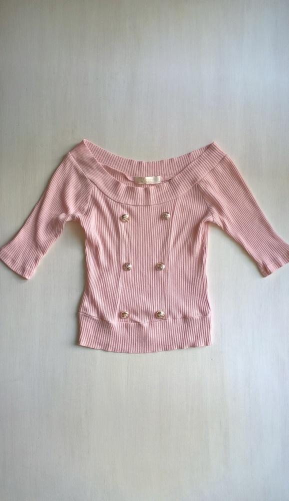 Pudrowa prążkowana bluzeczka XS S M