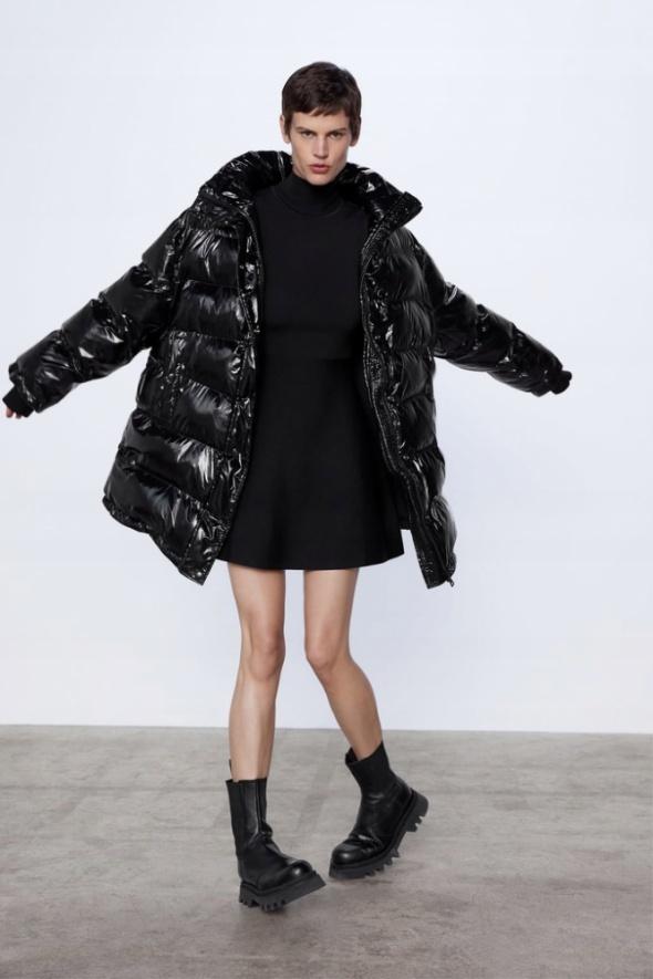 ZARA czarna kurtka oversize M 38 błyszcząca winylowa HIt trendy...