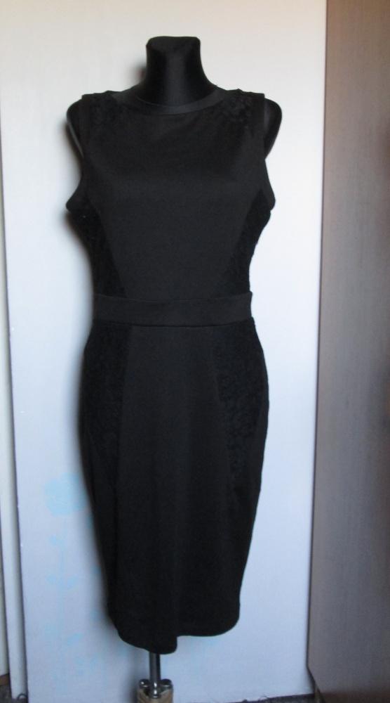 Dorothy Perkins czarna sukienka koronkowe wstawki