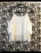 H&M hiszpanka boho odkryte ramiona gipiurowa biała ażurowa 34 XS