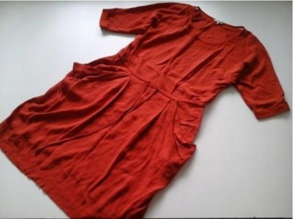 PERUNA Sukienka RUDA mgiełka DEKOLT rękawki 42 XL