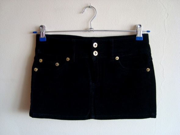 Spódnice Czarna Sztruksowa Spódnica Mini Terranova XS