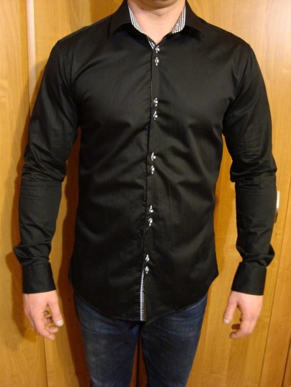 Czarna Elegancka Koszula Slim Fit MR Koł 43 XL XXL