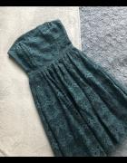 Romantyczna sukienka z koronki Reserved butelkowa zieleń...