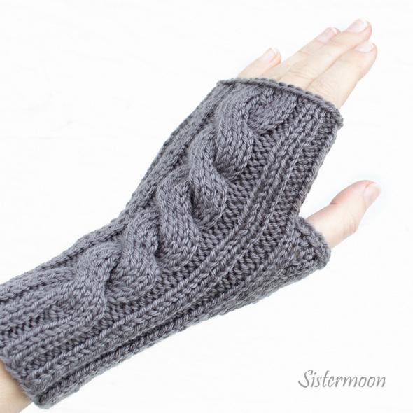 Rękawiczki Krótkie mitenki z warkoczem Stalowe