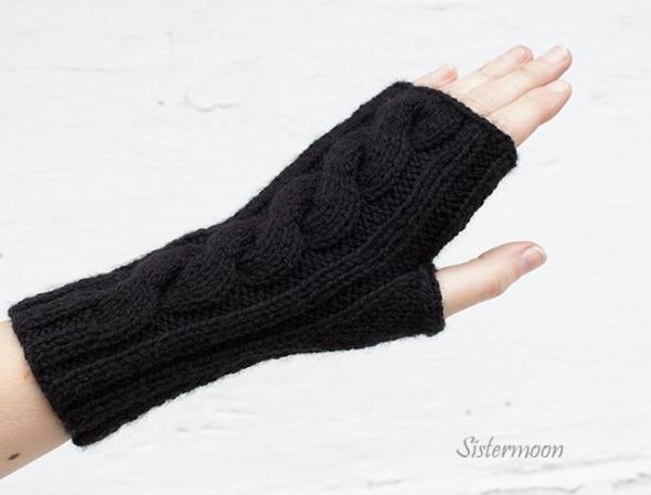 Rękawiczki Krótkie mitenki z warkoczem Czarne