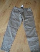 Beżowe spodnie z suwakami H&M rozmiar 44