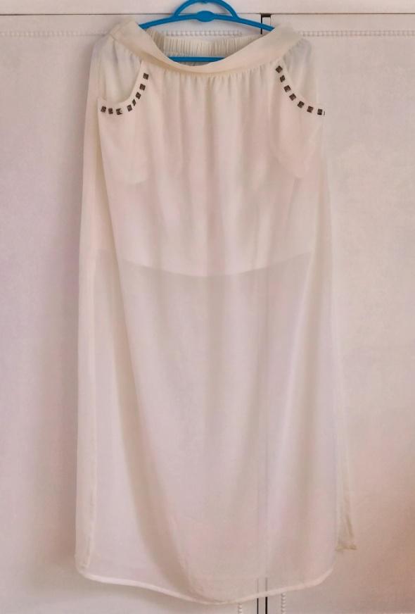 Nowa maxi spódnica długa maksi biała mgiełka szyfo