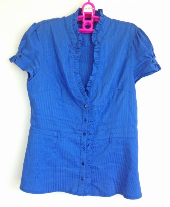 Tally Weijl Elegancka koszula taliowana prążkowana S M 36 38 drapowania na dekolcie rękawy bufki niebieska granatowa