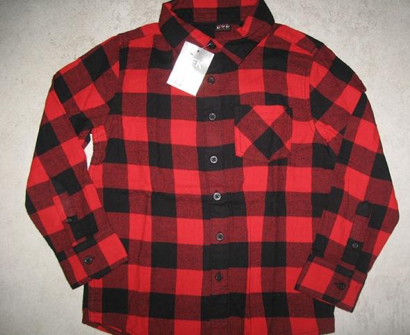 YKF Boys bluzka koszula chłopięca w czerwoną kratę roz 128