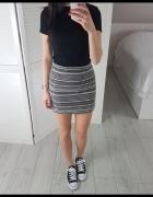 Zara dzianinowa M żakardowa haftowana spódniczka spódnica biało...