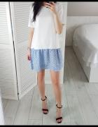 Elegancka sukienka M 38 z falbanką na dole niebieski biel biała