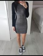 H&M dopasowana M sukienka optycznie wyszczuplająca szaro czarna melanż