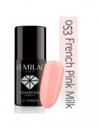 Semilac 053 French Pink Milk 7ml różowy mleczny francuski manic...