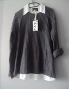 nowy oryginalny sweterek z koszula...