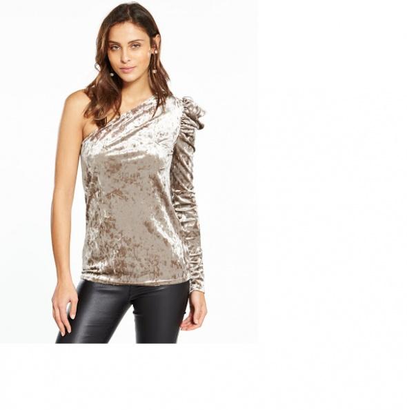 Bluzki V By Very Welurowa bluzka jedno ramię Rozm L XL