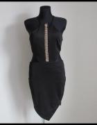 Seksowna NOWA czarna sukienka z wycięciami na biodrach M L...