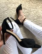 NOWE Sandały sandałki czarne zapinane pasek wokół kostki New Lo...