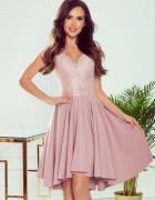 PATRICIA sukienka dłuższy tył koronka pudrowy róż S M L XL...