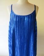 Bluzka NOWA Metaliczna H&M L 40 Niebieska Plisowana...
