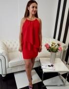 Piękna sukienka czerwona z falbankami 34