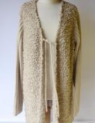 Sweter Beżowy Misiek Long 52 54 Ellos 6XL 7XL Płaszcz...