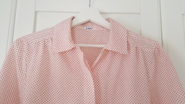 Biała koszula w kropeczki K Scott bufki vintage
