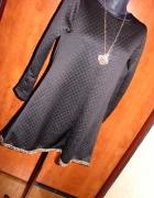 Nowa cudna czarna tunika sukienka trapez złote dod...