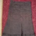Brązowa spódnia sztruksowa za kolano M
