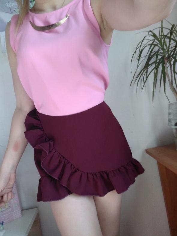 Spódnice Mini spódniczka spódnica z falbankami bordowa wysoki stan spodenki