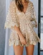 Letnia sukienka w kropki dots koronka...
