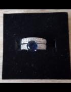 Nowe pierścionki komplet zestaw srebrny kolor niebieska cyrkoni...
