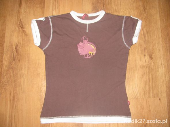 Fajny T shirt bawełniany brązowy roz S tanio