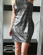 Atmosphere czarna srebrna sukienka 42 44...