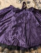 Satynowa spódniczka fioletowa z suwakiem kokardą tiulem Wesele ...
