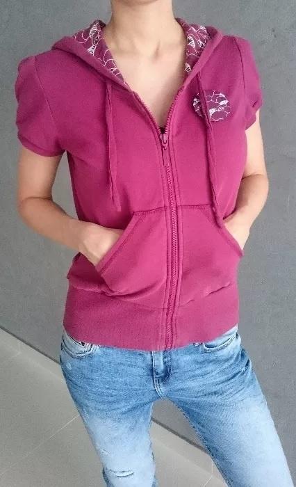 Fioletowa bluza koszulka na krótki rękaw z kapturem BIG STAR rozm M S