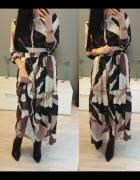 Maxi sukienka piękne wzory wiązana pod szyją s m...