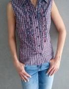 Koszula w kratę bez ramion z żabotem rozm M 38...