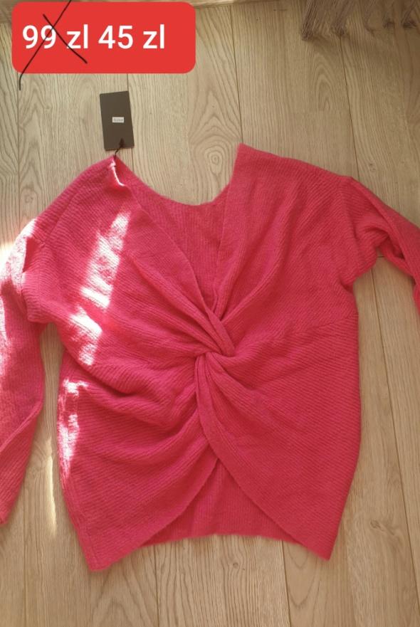 Okazja śliczny różowy swetrek kopertowe plecy m l