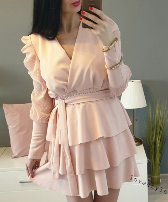 Suknie i sukienki Piękna pudrowy róż sukienka rozkloszowana s m