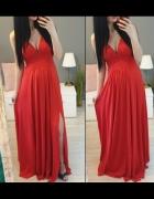 Maxi sukienka długa czerwona rozciecie dekolt s...