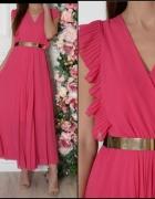 Malinowa maxi sukienka długa plisowana s m