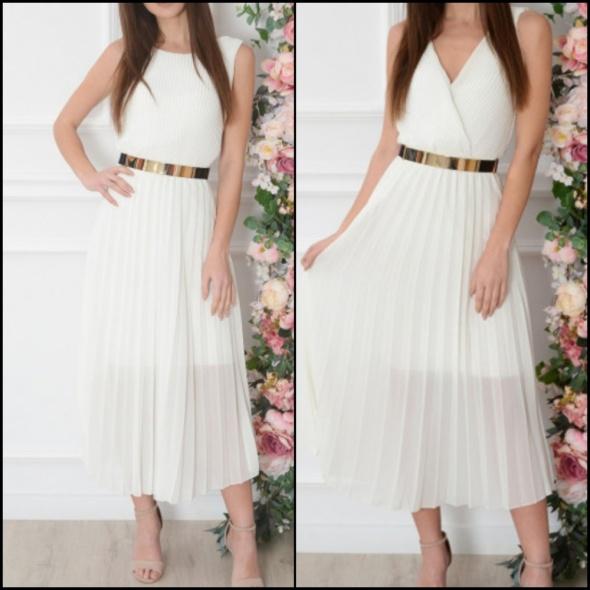 Suknie i sukienki Biała maxi sukienka długa plisowana s m
